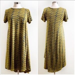 LulaRoe | Carly Golden Feather Tapestry Dress